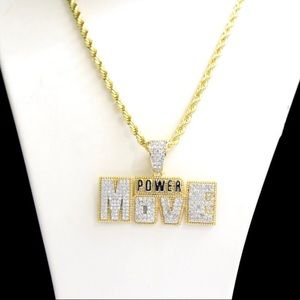 Gold Finish Lab Diamond POWER MOVE Charm Chain Set